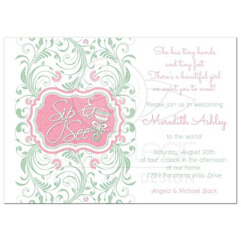 Sip And See Baby Shower by Baby Sip And See Baby Shower Invitation Rattle Mint Pink