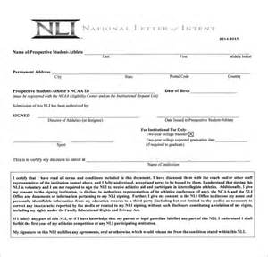 national letter of intent 10 free word pdf format