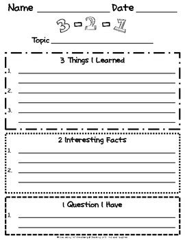 Free 3 2 1 Reading Strategy Great To Use For When You Are Using A Science Or History Video 3 2 1 Strategy Template