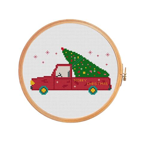 christmas tree on the car cross stitch pattern merry