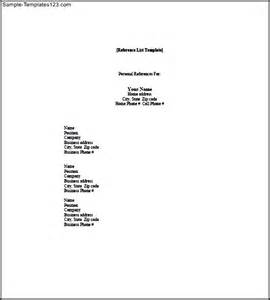 personal reference list template sle templates