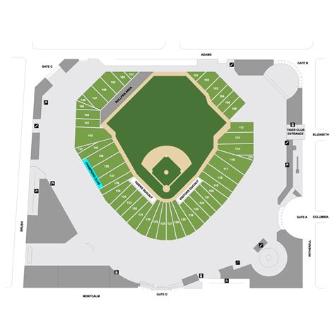 comerica park section map comerica park map detroit tigers