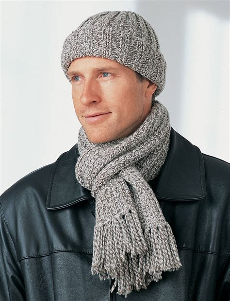 knitting patterns mens scarf simple men s winter hat and scarf favecrafts com