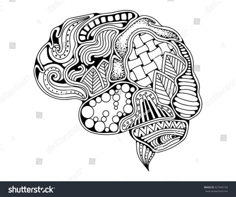 anti stress colouring book for adults brain science human brain doodle decorative creative stock vector