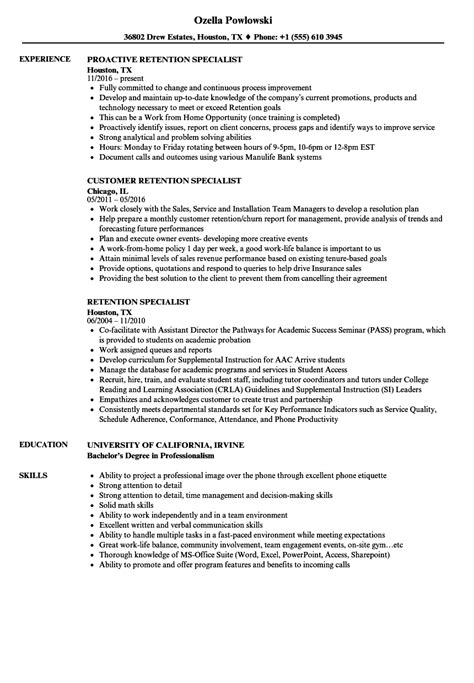 Retention Specialist Sle Resume by Retention Specialist Resumes Iron Worker Objective