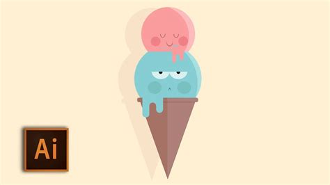 illustrator tutorial ice cream cute ice cream speed drawing illustrator easy flat