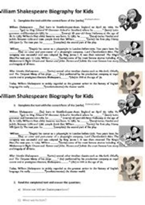 shakespeare biography for elementary students english worksheets shakespeare biography