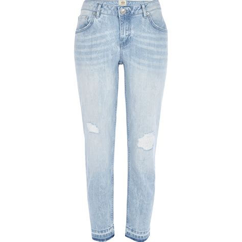 river island light wash ripped in