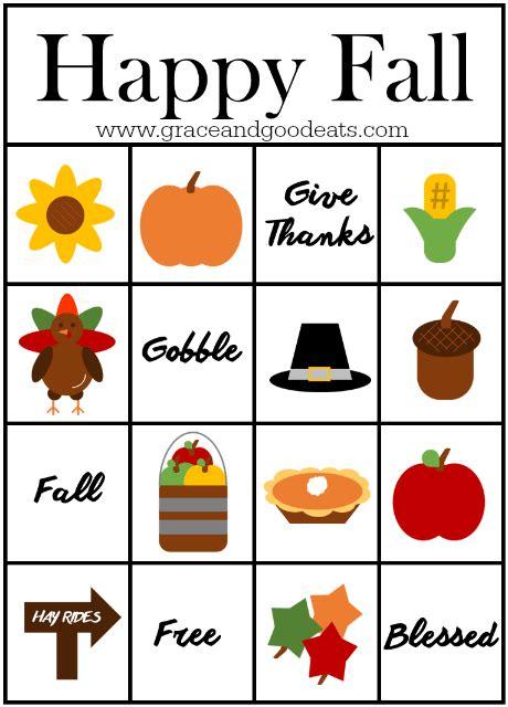 Free Fall Bingo Cards Printable fall bingo cards free printable grace and eats