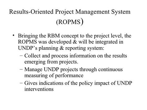 ropms results oriented project management system