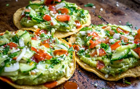 Main Dish Vegan Recipes - avocado hummus and cucumber pico de gallo tostadas mexican please