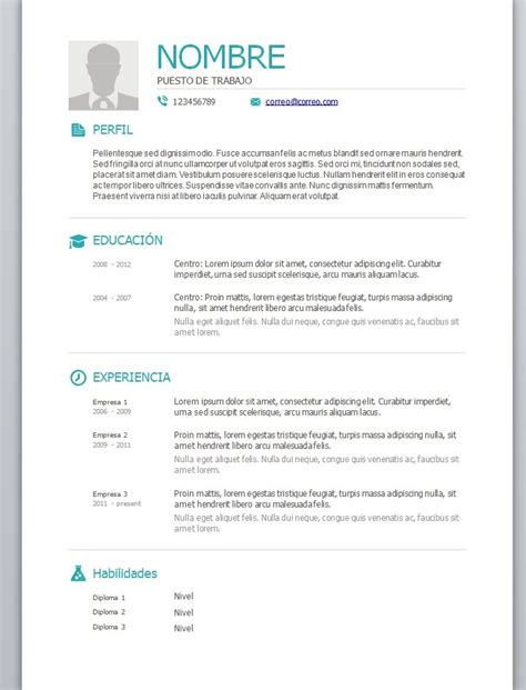 Plantillas De Curriculum Vitae Para Word Modelos De Curriculum Vitae En Word Para Completar