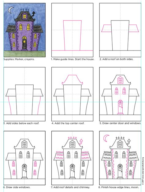 how to draw a haunted house draw an urban haunted house art projects for kids