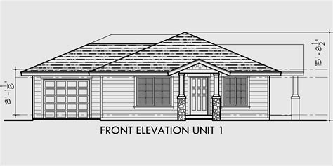 Single Story House Plans With Basement single story duplex house plan corner lot duplex house