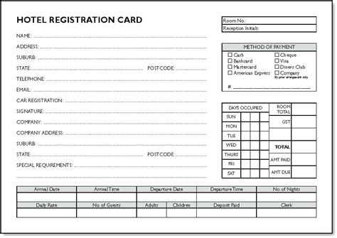 product registration card template registration card template hotel guest form word doc