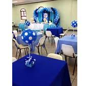 Decora&231&227o Cha De Bebe Azul CCS Decora&231&245es E Eventos Centro Mesa