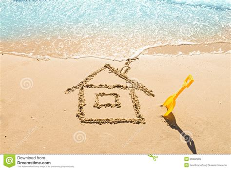 Beach House Plans Free House On The Sand Royalty Free Stock Images Image 36302989