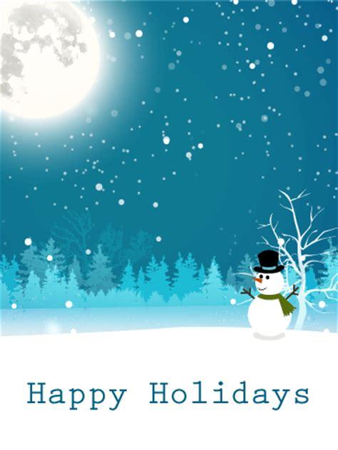 moonlight snowman happy holidays card birthday greeting cards  davia