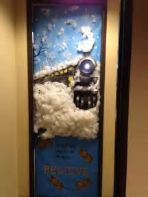 office decorated in the polar express my office door polar express asincleair doors door decorating and bulletin board