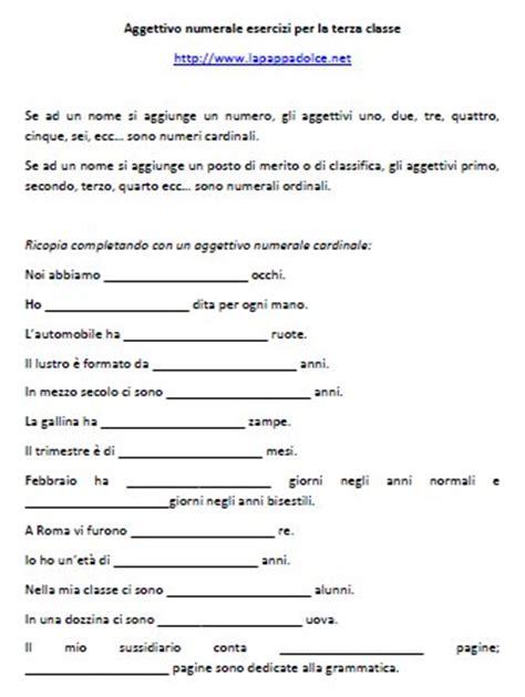 coss 礙 l testo aggettivo numerale esercizi per la terza classe
