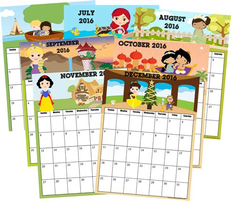printable calendar 2018 disney 2016 calendar disney princess inspired