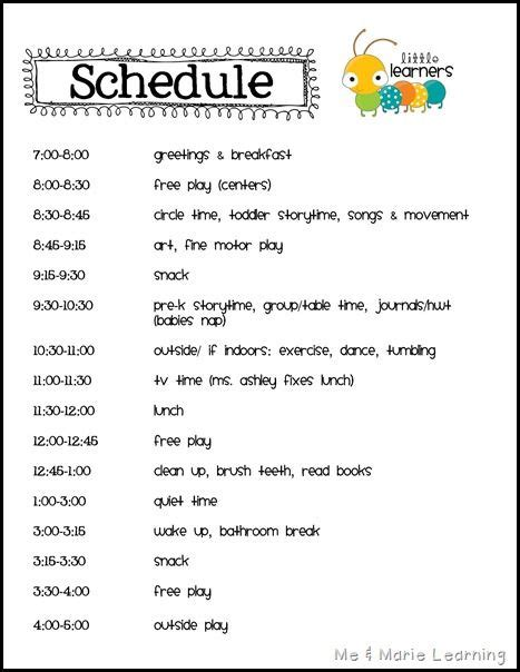 home daycare schedule template schedule simple lunches and more more