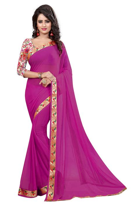 rani pink colour buy rani pink plain nazneen saree with blouse online