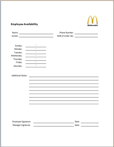 availability sheet for work template willspringer documents