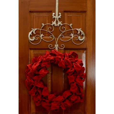Wreath Hanger For Front Door Decor Scroll Wreath Hanger Silver With Flower Ornament And Wood Panel Front Door For Chic