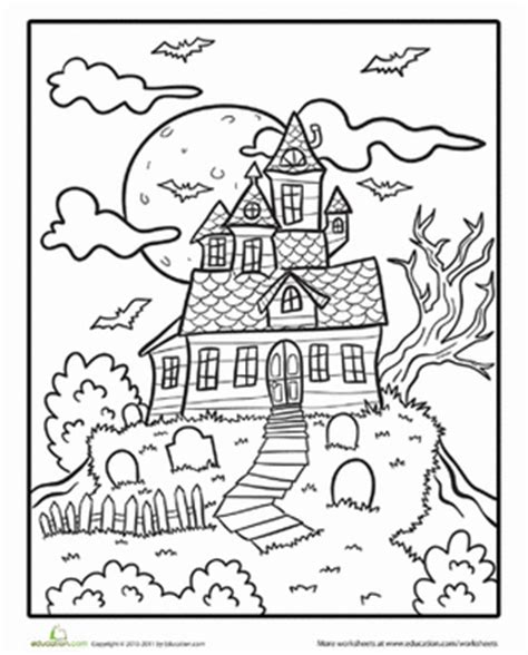 Halloween Coloring Pages For First Graders | spooky mansion coloring page haunted houses worksheets