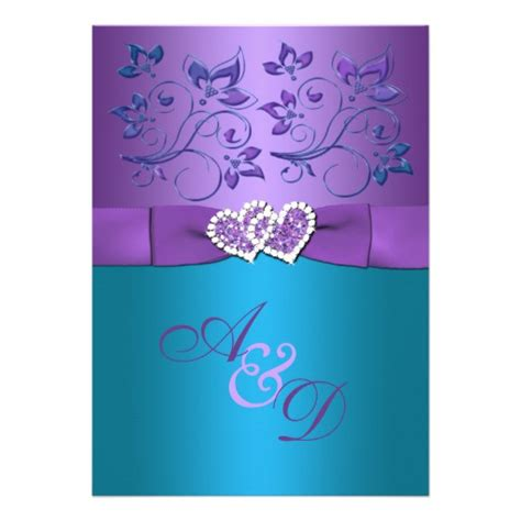 purple teal floral hearts monogram wedding invite 5 quot x 7 quot invitation card zazzle
