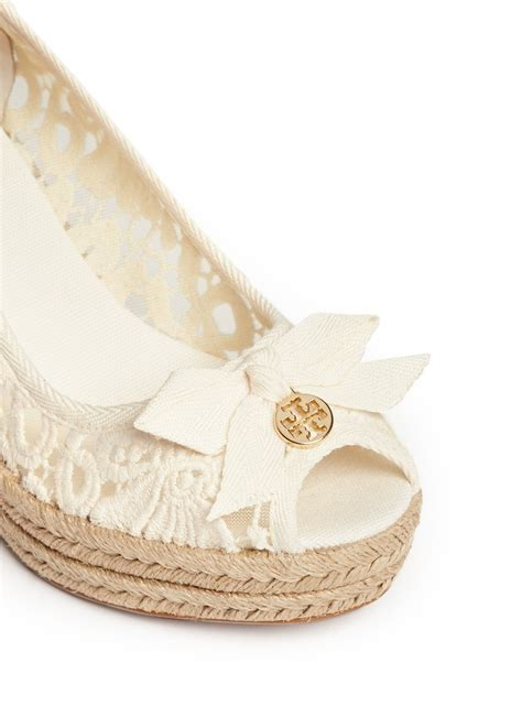 burch jackie crochet wedge espadrilles in white lyst
