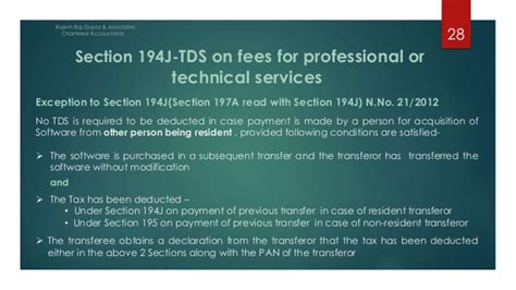 tds under section 194j tds presentation as per finance act 2014