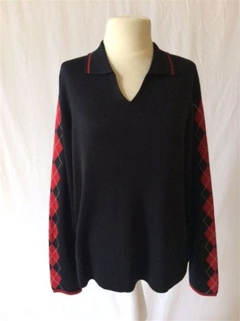 Argyle Wool Blend Knit Top talbots womens striped top breton knit pullover