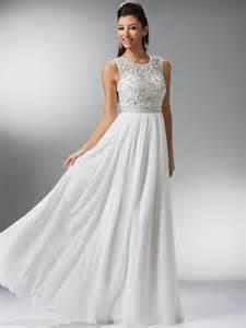 off white sheer beaded sleeveless long evening dress 1 1