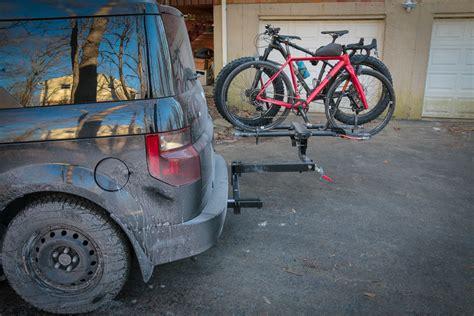 swing out bike rack hitch swings pt 2 rockymounts backstage two bike swing