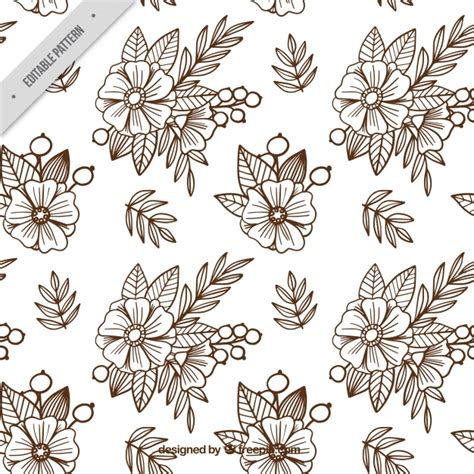 batik pattern background in vector background of sketches of flowers in batik style vector