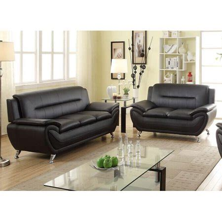 Faux Leather Sofa And Loveseat by Norton 2 Pc Black Faux Leather Modern Living Room Sofa And
