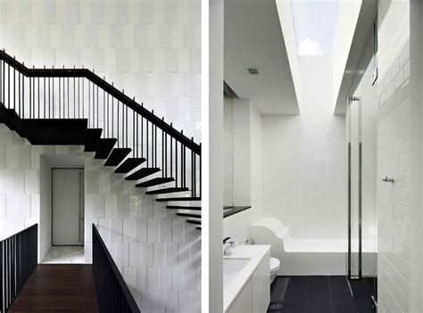 stairs bathroom black white house