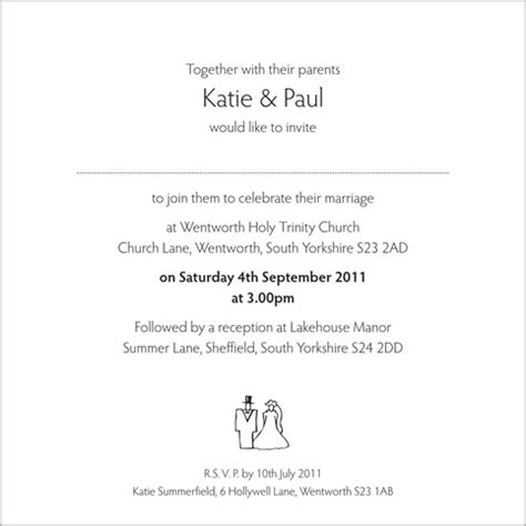 and groom wedding invites wording wedding invitation wording from and groom