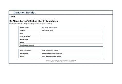 fundraiser receipt template 40 donation receipt templates letters goodwill non profit