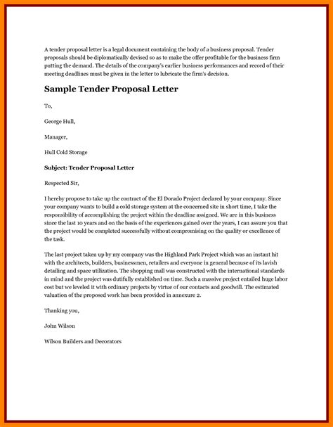 10 tender proposal letter sle lease template