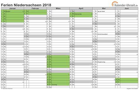 Ferienkalender Niedersachsen 2018 Ferien Niedersachsen 2018 Ferienkalender Zum Ausdrucken