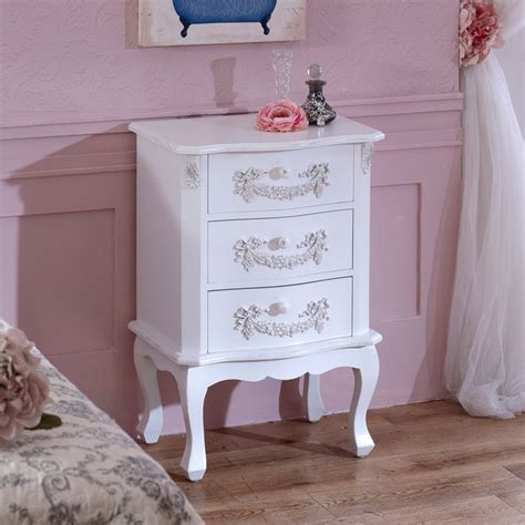 table pays 3 drawer antique white bedside table pays blanc range