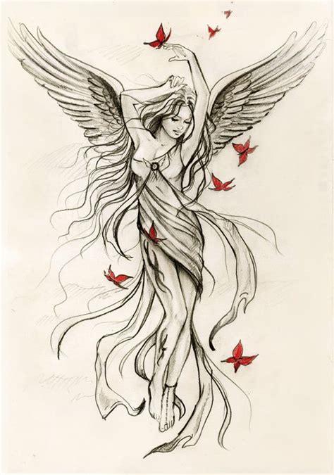 angel tattoo spread wings drawn tattoo angel pencil and in color drawn tattoo angel