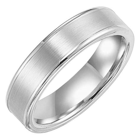 6mm wide white tungsten carbide mens wedding band with