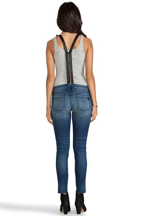 Denim Frankie B by Frankie B Overall With Leather In