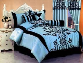 Blue Black Bedding Sets Light Blue Comforter Sets Home Interior Design