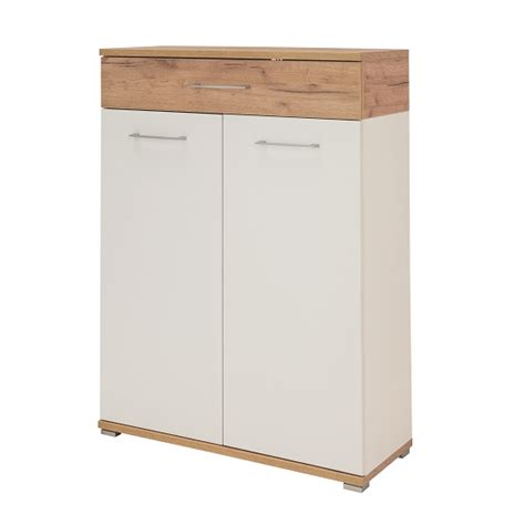White Shoe Cabinet With Doors by Zanotti Wooden Shoe Cabinet In White And Oak With 2 Doors