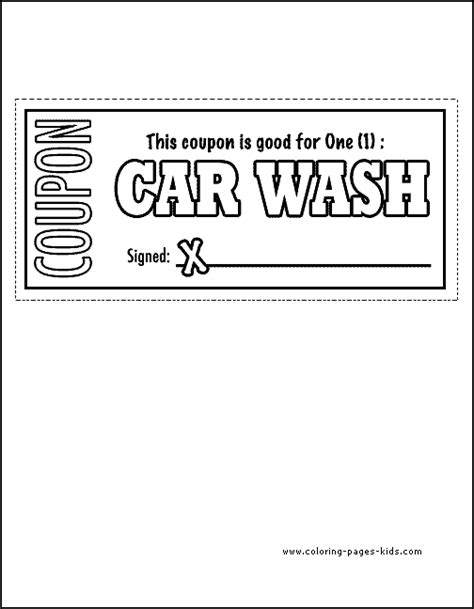 free car wash ticket template s day color page coloring pages for